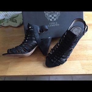 Black leather heel shoe